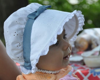White Eyelet Baby Bonnet  Easy On and Off