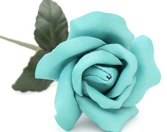 Leather rose turquoise flower third Anniversary wedding gift Long Stem leather flower Valentine's Day 3rd Leather Anniversary Mother's Day