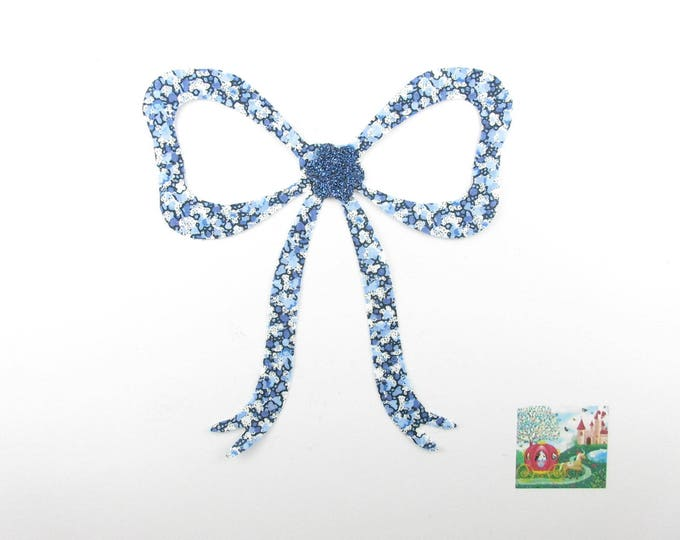 Iron on patch applied fusible liberty node Lavaliere in Pepper blue liberty fabric, applied bow, bow fusible, liberty