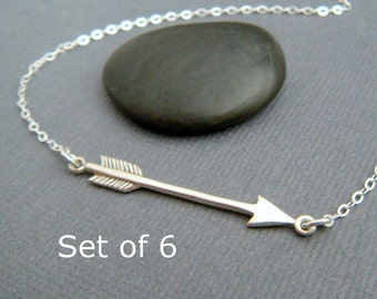 bridesmaid silver arrow necklace. SET OF 6. sterling silver jewelry. modern arrow pendant simple bridal gifts delicate arrow wedding theme
