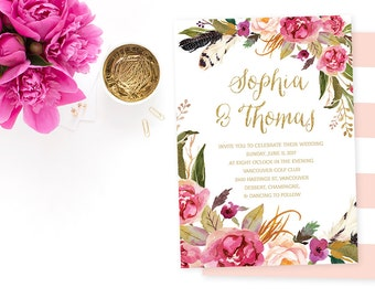 Floral Wedding Invitation, Pink Gold Wedding Invitation, Floral Wedding Invite, Boho Wedding Invitation, Summer Wedding Printable Invitation