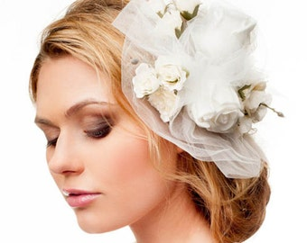 Bridal floral hair accessory. Handmade bridal tulle veil. Flower crown veil. Bridal fascinator. Wedding hair crown. Flower leaf headpiece
