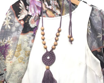 Beaded Crochet Tassel Necklace