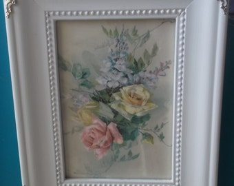 Catherine Klein roses print framed shabby cottage print
