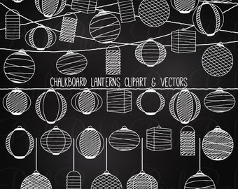 Chalkboard Paper Hanging Lantern Clipart Clip Art Vectors, Chalk Lanterns Clipart Clip Art - Commercial and Personal Use