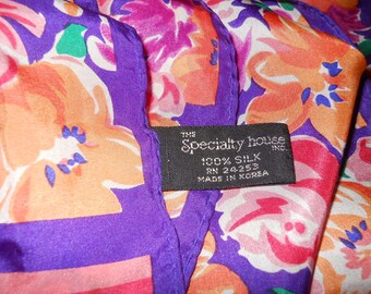 Specialty House Pure Silk Vintage Scarf Korea Orange Rust Purple Roses Floral Print Long Great Condition