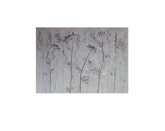 Large fine art Original nature mono print by Stef Mitchell. Coastal flowers and grasses. Delicate duck egg blue. Modern botanical wall art