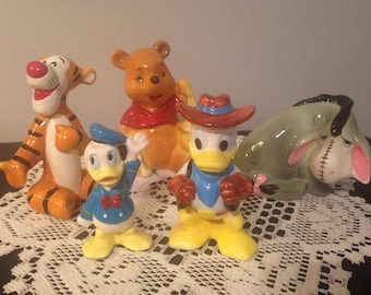 Vintage Disney Figurines - 2 Lots - Choice of Donald Duck or Winnie the Pooh - Made in Japan