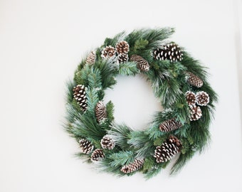 Vintage Christmas wreath of pine branches and pine cones, large door wreath in green, brown white, real pinecones wreath, early nineties