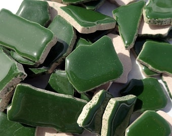 Dark Green Mosaic Ceramic Tiles - Jigsaw Puzzle Shaped Pieces - Half Pound - Assorted Sizes Random Shapes - Mosaic Art Supplies - Pesto