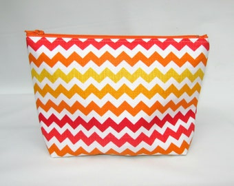 Cosmetic Bag, Make up Bag, Makeup Bag, Toiletry Bag, Zipper Pouch, Zipper Wallet, Makeup Organizer, Zipper Bag, Travel Bag, Zig Zag Sunset