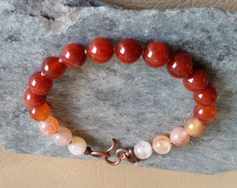 RED CRACKLE AGATE Bead Bracelet with Copper Hook & Eye Clasp. 8mm Beads. Red, Orange, Peach, White Color Gradient. Available in most sizes!