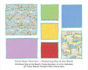 "Day at the Beach Quilt Kit - Beach Kids - Villa Rosa Cherish Pattern - finishes 41""x60"" - DIY"