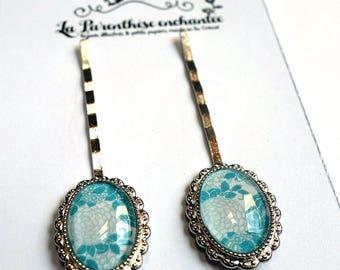 Couple of hairpins, blue hydrangeas