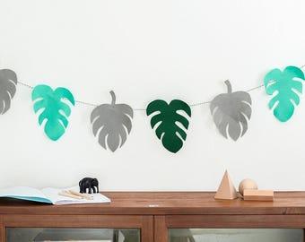 Garland, Monstera garland, bunting, monstera leaf, botanical print, plants, succulents, tropical decor, botanical, tropic nursery decor