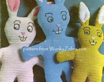 Crochet Vintage Bunnies PDF Pattern 344 from WonkyZebra