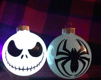 Christmas Ornament Jack Skeleton SpiderMan Harry Potter Grinch Glitter glow in the dark