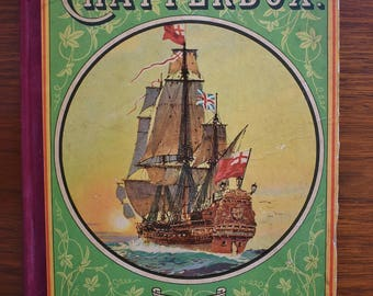 1928 Chatterbox Children's Book, Tall Ship at Sea, Victorian Child's Book, Collectible Antique Illustrated Bound Book, Lithograph