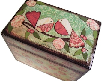 Recipe Box, Decoupaged, Handcrafted Box, Birds & Other Designs, Kitchen Storage Organization, Wedding Box, Bridal Shower MADE TO ORDER