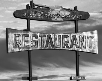 Route 66 Print, Route 66, Black and White, Road Runner Cafe, Amboy CA, Abandoned Building, Mother Road, Gas Station, Urban Decay, Fine Art