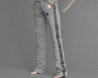 Longer 1/6th scale grey sweatpants / tracksuit bottoms for: Fashion Royalty male dolls and taller action figures