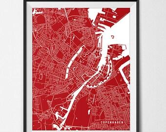 Copenhagen Map Art Print, Denmark City Map, University of Copenhagen Art Graduation Gift for Grad
