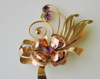SALE 1940s ISKIN Amethyst Floral Brooch / Designer Signed / Retro / 10K Gold Filled / Rose & Green Gold / Vintage Jewelry / Jewellery