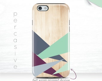 iPhone 7 Plus Case Geo iPhone 6s Abstract Triangle iPhone 6 Plus Case Wrap Around iPhone 5s Case Geometric iPhone 6 Case Wood Print  05k