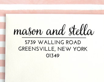 Custom Address Stamp | Return Address Stamp | Custom Rubber Stamp | Personalized Address Stamp | Return Address Label | Calligraphy, No 26