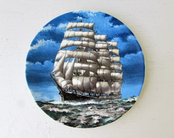 Vintage Tall Ship Plate - The Archibald Russell - Poole England  - Souvneir Plate - Vintage Souvenir - Tall Ship - Steel Four Masted Barque