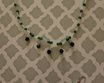 Girls Green and White Necklace and Earring Set