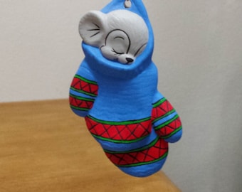 Ceramic Mice in Mittens Ornament - Blue Mittens(#575B)