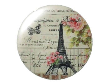 Set of 2 Eiffel Tower round glass cabochons 30mm