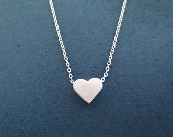 Silver, Heart, Love, Necklace, Cute, Minimal, Love, Necklace, Birthday, Friendship, Best friends, Mom, Gift, Jewelry