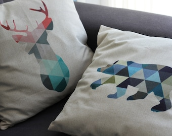 Deer / moose / bear / geometric pillow cover with nordic / scandinavian style