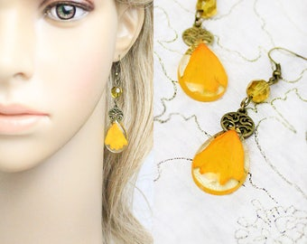 orange earrings sunflower jewelry yellow earrings real flower jewelry key gifts orange jewelry gift/for/her mother gifts key earrings К02