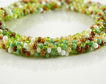 Green and Copper Multicolor Kumihimo Necklace
