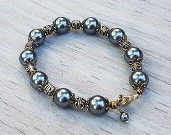 Dark Grey Glass Pearl and Tibetan Silver Bracelet. Beaded Bracelet.  Lobster Claw Closure.  JemstoneZ Bracelet.