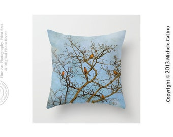Five Robins Spring Robins in Tree Branches Blue Sky Birds Pillow Cover Blue Sky Clouds Bird in Tree Throw Pillow Cover