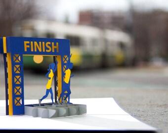 Running Pop Up Card, Marathon Card, Racing Card, Milestone Card, Goal Card, Foot Race Card, Finish, Line Card, Boston Marathon Card