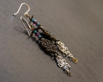 Steampunk Purple Teal & Brass Earrings - Vintage Gears - Sterling Silver Earwires - Steampunk Gypsy - Post-apocalyptic Jewelry