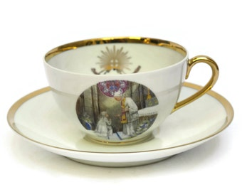 French Limoges Porcelain Teacup and Saucer.