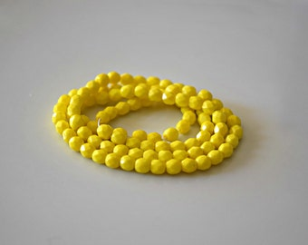 Yellow Czech Fire Polished Faceted Opaque Beads Yellow Czech Glass Beads Opaque Faceted Beads Yellow Beads 4mm (50 pcs) 2V12