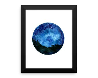 Framed Night Sky Painting Print, Circle Night Sky Landscape Painting, Home Decor Wall Art, Celestial Art