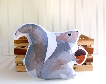 Squirrel Pillow Plush Soft Toy Woodland Nursery Decor Ready to Ship