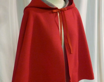 "18th Century Hand-Sewn Scarlet ""Cardinal"" Red Heavy Wool Broadcloth Short Cloak w/ Silk Lined Hood (OUT-SC3)"