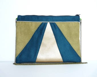 Khaki and blue green evening clutch bag Wedding Clutch Bridesmaid