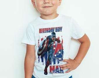Captain America birthday  Kids  T-Shirt, Childrens Toddlers T Shirt Top.
