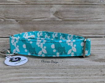 Foxes on Teal Background with a Geometric Leaf Design - Greyhound/Sighthound/Lurcher/Galgo Dog: House/Tag Collar