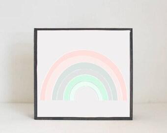 rainbow boho nursery,  nursery art, baby girl nursery decor, gender neutral baby, baby room art, art block, rainbow nursery, redtilestudio